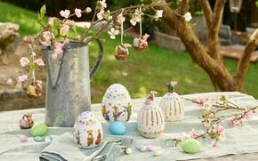 Картинка цветы, ветки, яйца, весна, Пасха, декор