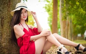 Картинка шляпа, лето, лицо, ножки, платье, азиатка