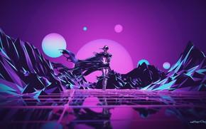 Картинка Музыка, Робот, Неон, Человек, Холмы, Фон, Synthpop, Darkwave, Synth, Low Poly, Retrowave, Синти-поп, Синти, Synthwave, …