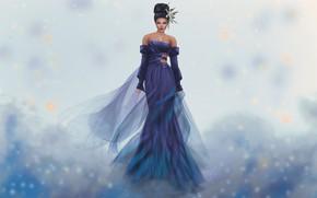 Картинка девушка, лицо, стиль, фон, платье