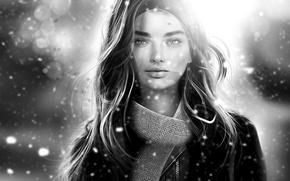 Обои девушка, снег, лицо, шарф