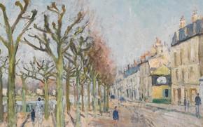 Картинка Гюстав Луазо, картина, Gustave Loiseau, Quay of the River Long. Village. Sun, деревья, дома, улица, …