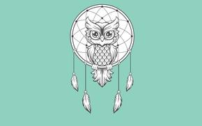 Обои dream catcher, светлый фон, птица, owl, dreamcatcher, ловец снов, сова, минимализм