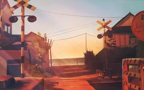 Картинка море, небо, дома, знаки, железнодорожный переезд