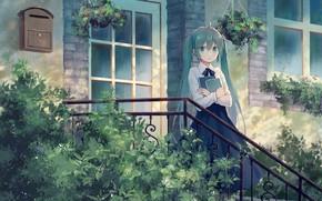 Обои Hatsune Miku, крыльцо, девушка, Vocaloid, дом