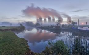 Картинка река, Англия, пар, градирня, Ноттингем, электростанция Ратклифф