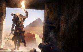 Картинка пирамида, Египет, факел, склеп, ассасин, Assassin's Creed, Assassin's Creed Origins