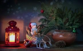 Картинка зима, елка, новый год, рождество, свеча, мишка, фонарик, подарки, натюрморт, санки, январь