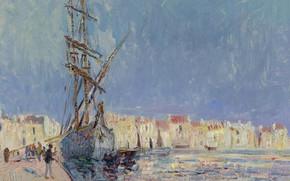 Картинка корабль, дома, картина, городской пейзаж, Гюстав Луазо, Gustave Loiseau, The Martigues. The Port of Ferriere