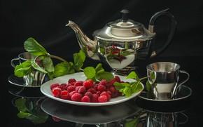 Картинка малина, чай, чайник, чашки, натюрморт