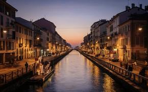 Картинка закат, огни, дома, вечер, фонари, Италия, канал, Милан