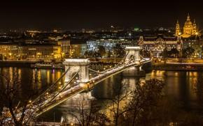 Картинка ночь, мост, город, огни, река, Венгрия, Будапешт