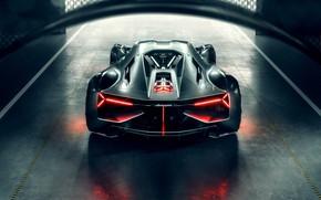 Обои Lamborghini, Light, Hypercar, Rear, Terzo Millennio
