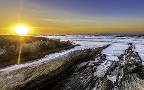 Картинка Закат, Солнце, Природа, Море, Волны, Камни
