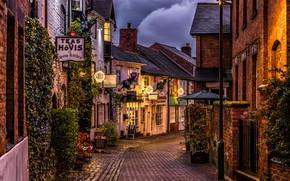 Картинка огни, Англия, дома, растения, вечер, фонари, переулок, Stafford