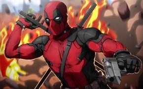Картинка пистолет, оружие, фантастика, огонь, маска, арт, костюм, перчатки, мечи, Deadpool, Дэдпул, комикс, катаны
