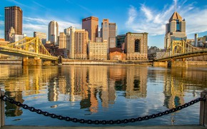 Картинка река, здания, цепь, мосты, Пенсильвания, набережная, Pennsylvania, Питтсбург, Pittsburgh, река Мононгахила, Monongahela River