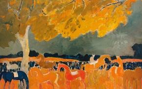 Картинка осень, пейзаж, дерево, картина, лошади, Andre Brasilier, Big Horses Party at Fere in Tardenois. Aisne