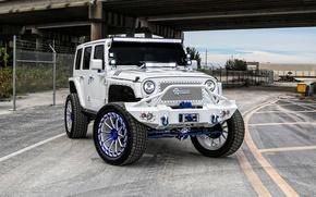 Картинка дорога, мост, Jeep Wrangler Rubicon