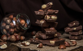 Картинка шоколад, орехи, сладкое, фундук