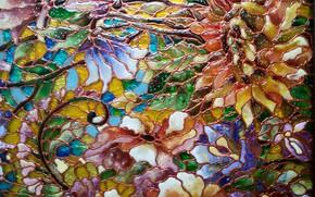 Картинка абстракция, текстура, расцветка, блики света, литье, цветочный узор, витражное стекло, блеск стекла