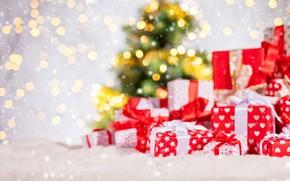 Картинка зима, снег, украшения, снежинки, Новый Год, Рождество, подарки, Christmas, winter, snow, bokeh, Merry Christmas, Xmas, …