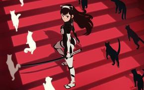 Картинка девушка, катана, лестница, ступени, тени, комбинезон, длинные волосы, art, белые кошки, черная кошка, Hong Soon …