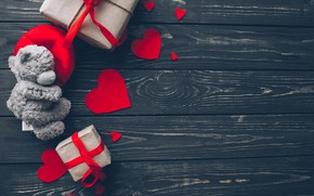 Картинка любовь, подарок, сердце, red, love, bear, wood, romantic, hearts, teddy, Valentine's Day, gift, valentine