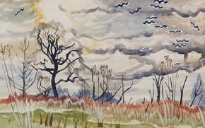 Картинка 1917, Charles Ephraim Burchfield, Birds in Flight