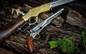 Картинка ретро, винтовка, Револьвер