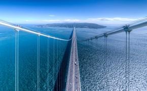Обои море, небо, вода, мост, город, пролив, остров
