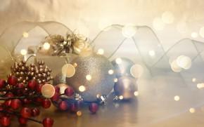 Картинка праздник, игрушки, лента, подарки, Новый год, Christmas, декор, Xmas