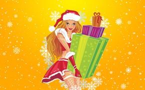 Картинка Зима, Девушка, Снег, Фон, Новый год, Праздник, Подарки