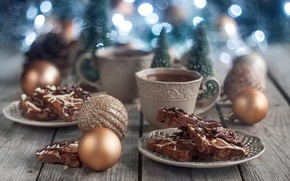 Обои стиль, праздник, чай, игрушки, торт, декор