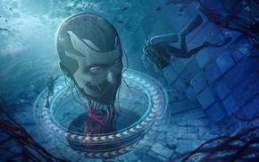Картинка пузырьки, голова, исследование, аквалангисты, Head Under Water