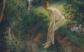 Картинка эротика, пейзаж, природа, картина, Камиль Писсарро, Купальщица в Лесу