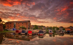 Картинка облака, дом, лодка, Англия, зарево, гавань, Дербишир, Шардлоу