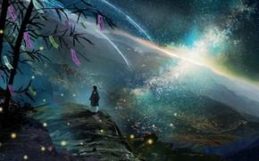 Картинка небо, горы, ночь, природа, дерево, фэнтези, мужчина, млечный путь