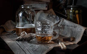 Обои пиво, спички, рыба, нож, кружка, газета, банка, вобла