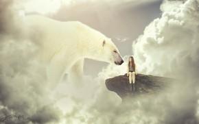 Картинка облака, девушка, небо, белый медведь, скала