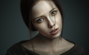 Обои взгляд, девушка, портрет, 3ds max, рендер, photoshop, zbrush, Portrait of Woman 3D Art by Pasquale ...