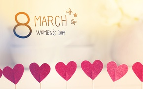 Обои Women's Day, romantic, gift, 8 марта, сердечки, heart, happy