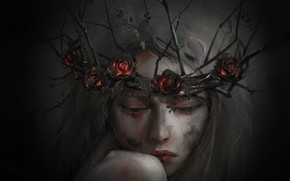 Картинка девушка, цветы, готика, розы, венок