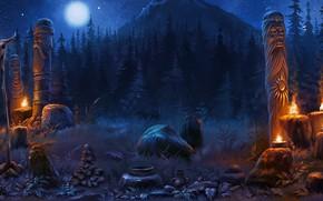 Обои лес, Game background, череп, идолы, горы, ночь, кувшин