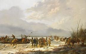 Обои пейзаж, масло, картина, холст, Питер Герардус ван Ос, Замёрзший Karnemelksloot в Наардене