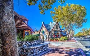 Обои США, Калифорния, Solvang, улица, деревья, дома, обработка, дорога, солнечно