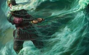 Обои море, волны, сказка, меч, арт, лукоморье, черномор