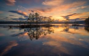 Картинка небо, вода, деревья, закат, озеро, отражение, Норвегия, островок, Norway, Рингерике, Ringerike