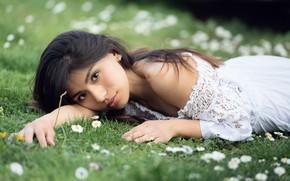Картинка трава, взгляд, лицо, модель, Rosalia