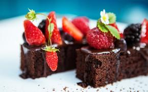 Картинка ягоды, пирожное, десерт, шоколадное